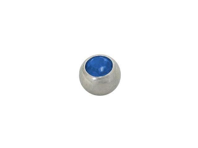 Replacement Bead Surgical Steel Threaded (5mm) with Blue Jewel