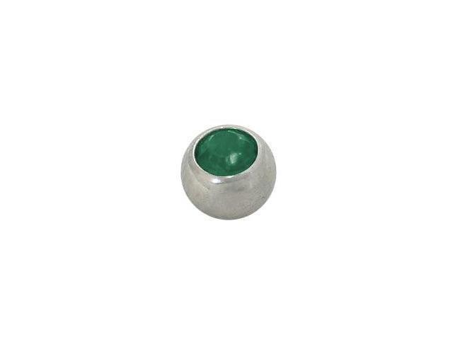 Replacement Bead Surgical Steel Threaded (5mm) with Green Jewel