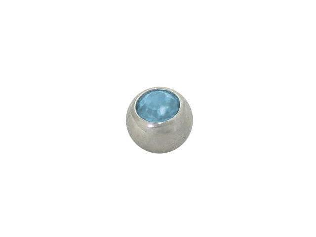 Replacement Bead Surgical Steel Threaded (5mm) with Light Blue Jewel