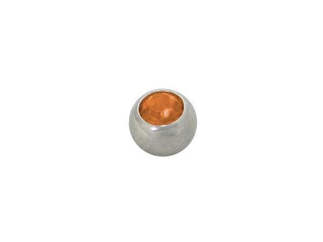 Replacement Bead Surgical Steel Threaded (5mm) with Orange Jewel