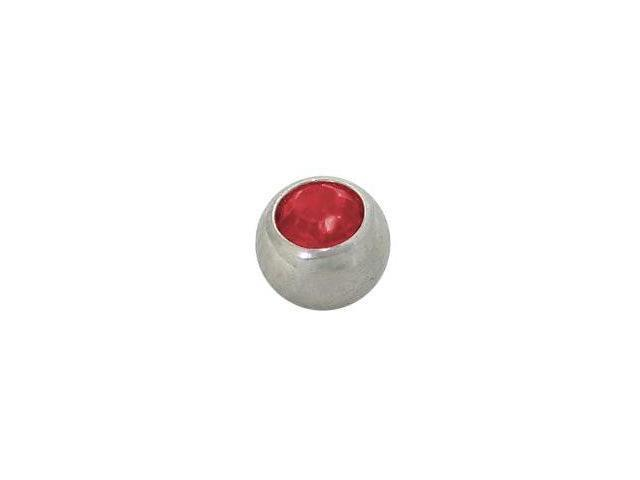 Replacement Bead Surgical Steel Threaded (5mm) with Red Jewel