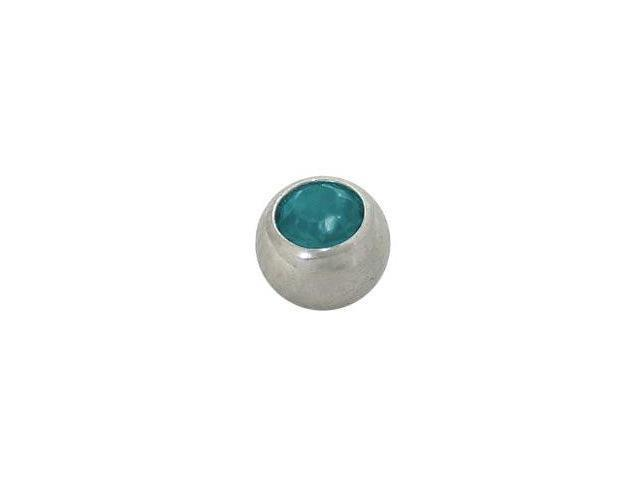 Replacement Bead Surgical Steel Threaded (5mm) with Turquoise Jewel
