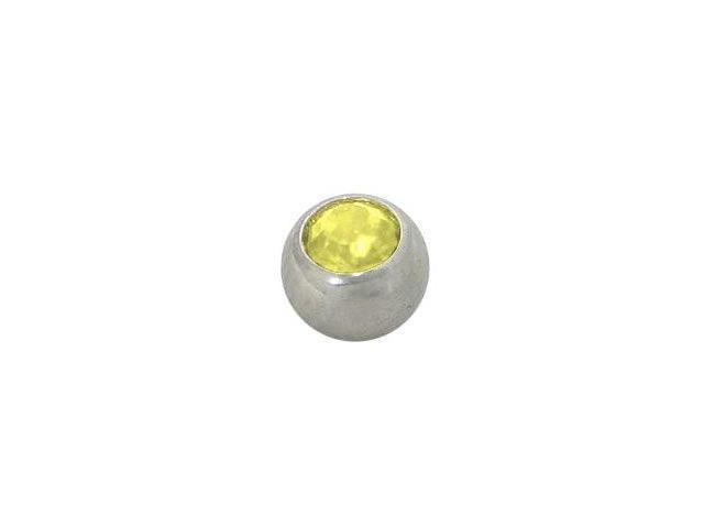 Replacement Bead Surgical Steel Threaded (5mm) with Yellow Jewel