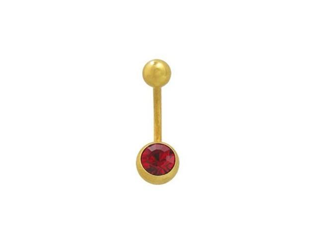 Jeweled 14k Gold Plated Belly Ring