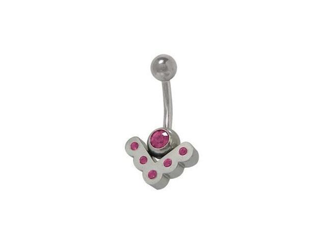 Sterling Silver Vintage Belly Ring with Purple Cz Jewels