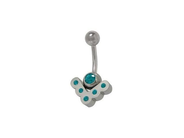 Sterling Silver Vintage Belly Ring with Turquoise Cz Jewels