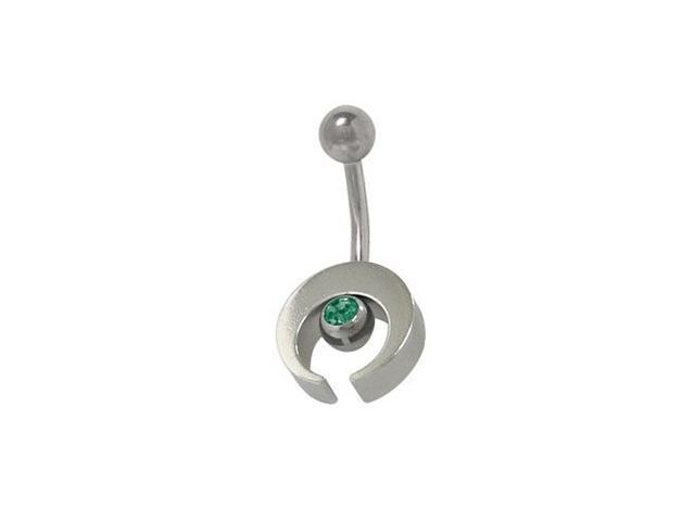 Sterling Silver Half Moon Design Belly Ring with Dark Green Cz Jewel