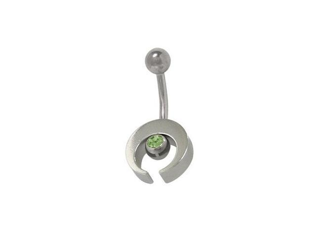 Sterling Silver Half Moon Design Belly Ring with Light Green Cz Jewel
