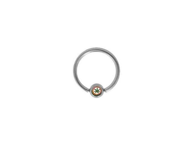 Surgical Steel Captive Bead Ring with Pot Leaf Logo Bead - 14g - 1/2 Inch