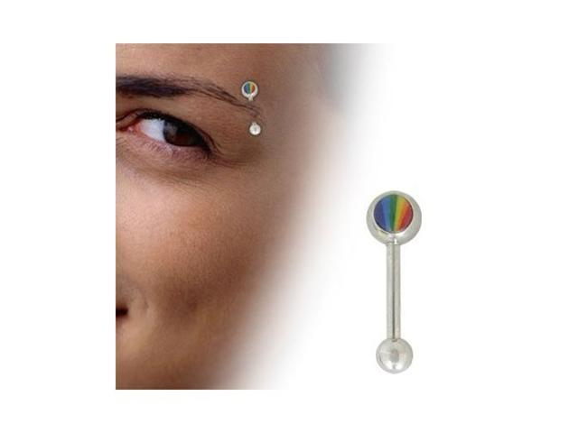 Rainbow Logo Barbell Eyebrow Ring