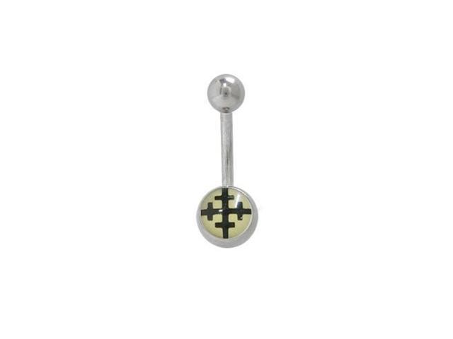 Crusader Symbol Belly Button Ring Surgical Steel