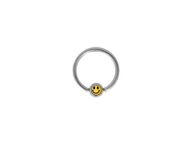 Surgical Steel Captive Bead Ring with Smiley Face Logo Bead - 14g - 1/2 Inch