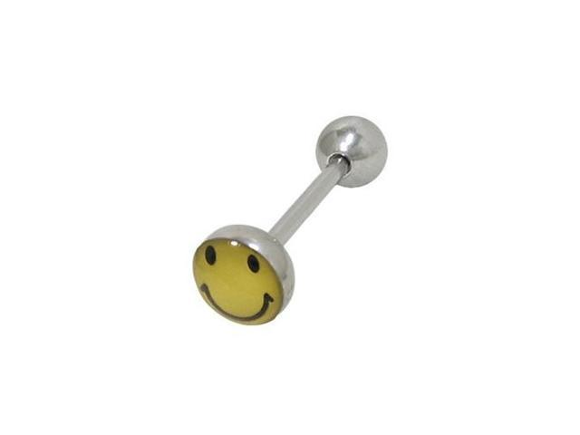 Smiley Face Barbell Tongue Ring Surgical Steel