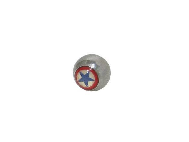 Replacement Bead Surgical Steel Threaded (6mm) with Star Logo