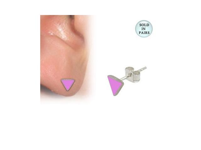 Sterling Silver Stud Earrings with Pink Enamel Triangle Design