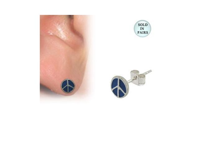 Blue Peace Sign Logo Sterling Silver Ear Studs