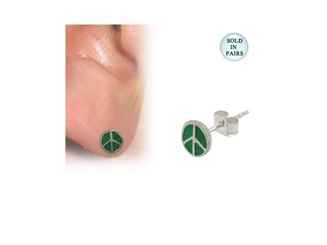 Green Peace Sign Logo Sterling Silver Ear Studs