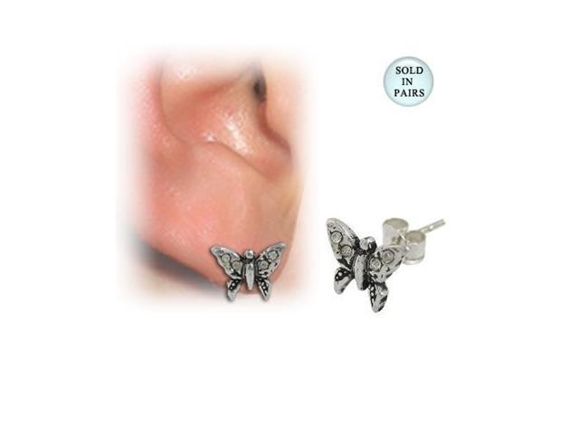 Sterling Silver Butterfly Ear Studs with Cz Jewels