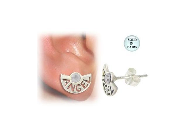 Sterling Silver Stud Earrings with the word Angel and Clear Jewel