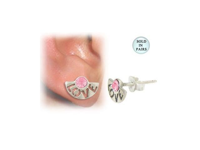 Ear Studs with the word Love and Pink Jewel