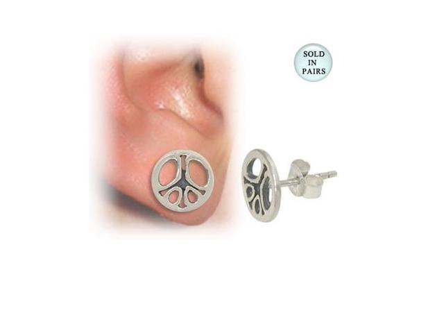 Peace Sign Sterling Silver Ear Studs