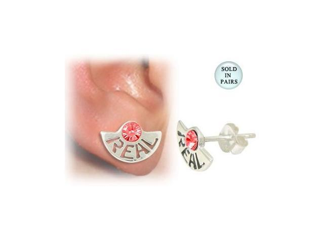 Sterling Silver Stud Earrings with the word Real and Red Jewel