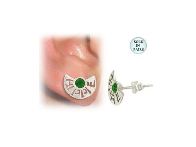 Sterling Silver Stud Earrings with the word Hippie and Green Jewel