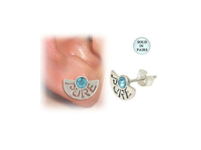 Sterling Silver Stud Earrings with the word Pure and Light Blue Jewel