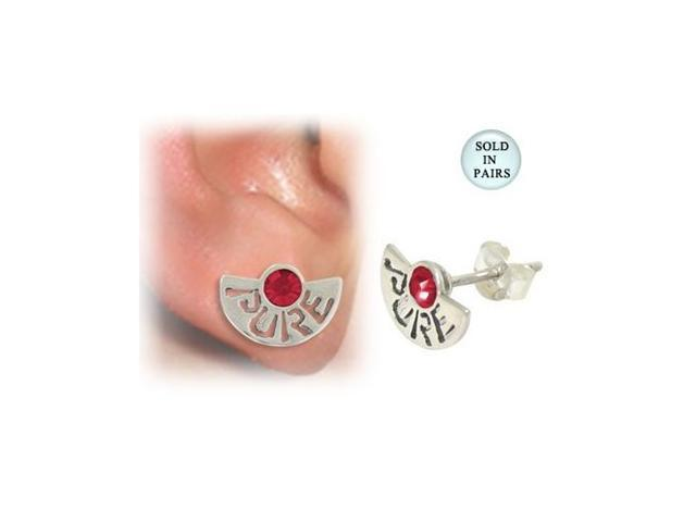 Sterling Silver Stud Earrings with the word Pure and Red Jewel