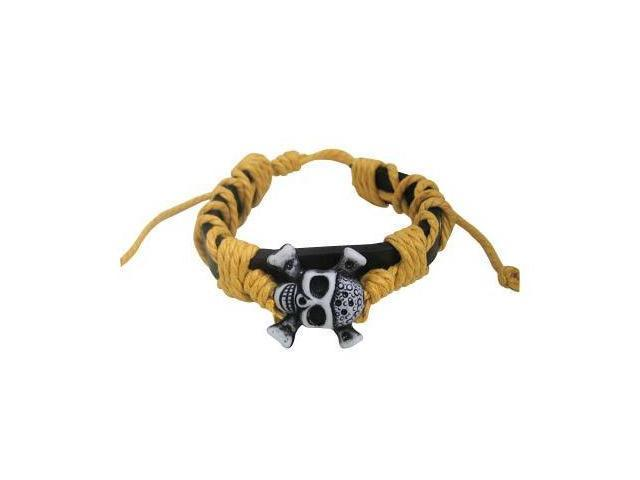 Leather Bracelet with Silver Skull and Yellow Rope