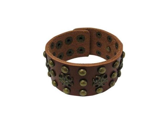Toxic Symbol Design Brown Leather Bracelet with Metal Studs