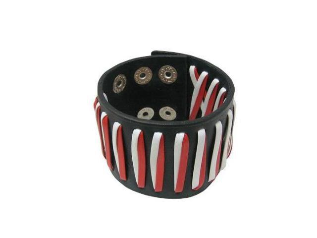 Black Leather Bracelet with Red & White Design