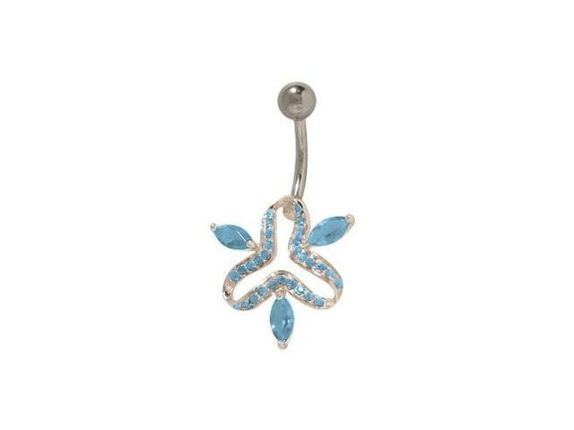 Antique Sterling Silver Design Belly Button Ring with Light Blue Cz Jewels