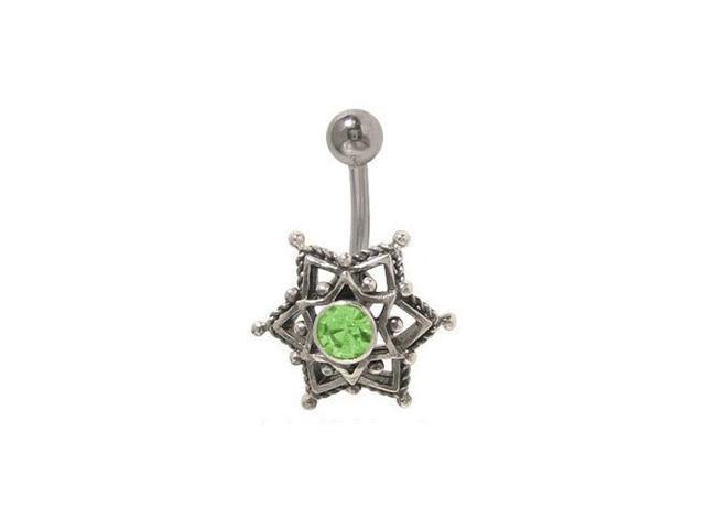 Star Belly Button Ring with Jewel