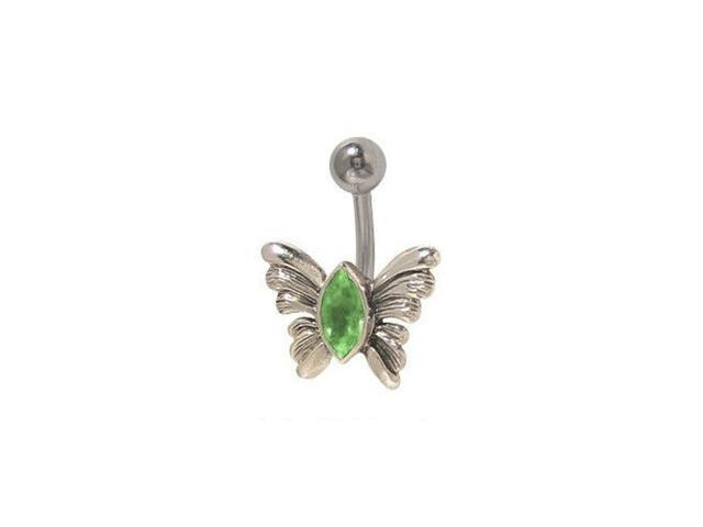 Butterfly Belly Button Ring with Green Jewel
