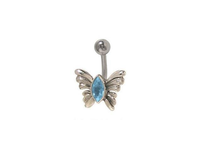 Butterfly Belly Button Ring with Blue Jewel