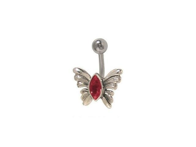 Butterfly Belly Button Ring with Red Jewel