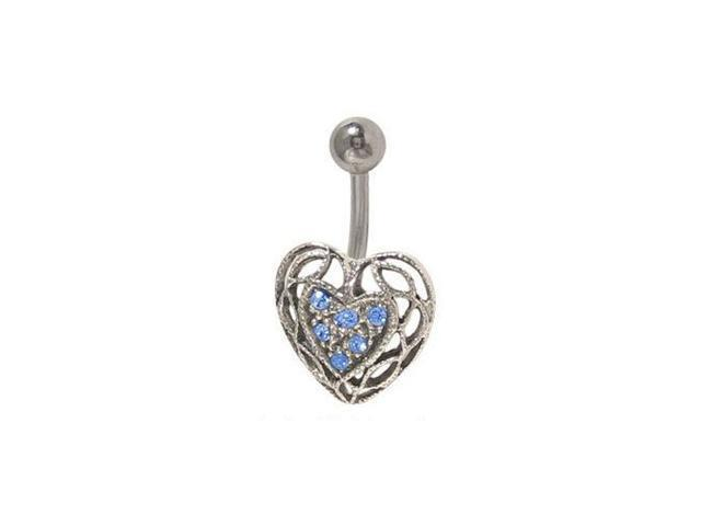 Antique Heart Belly Button Ring with Blue Jewels