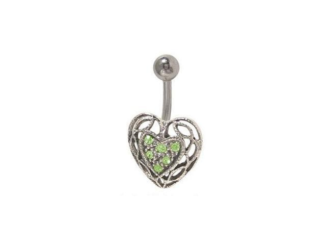 Antique Heart Belly Button Ring with Green Jewels