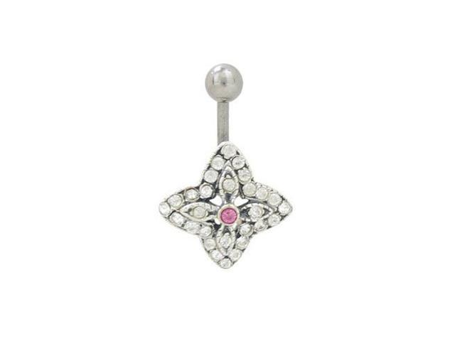 Flower Belly Ring with Jewels