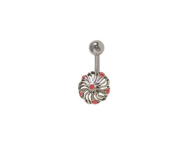 Flower Belly Ring Surgical Steel with Red Jewels
