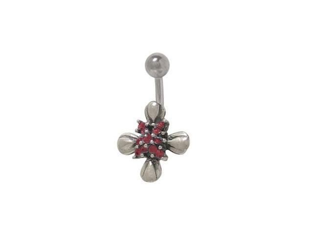 Sterling Silver Flower Belly Ring with Red Cz Jewels