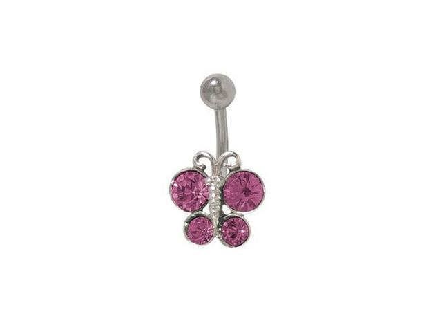 Butterfly Belly Button Ring with Purple Cz Jewels