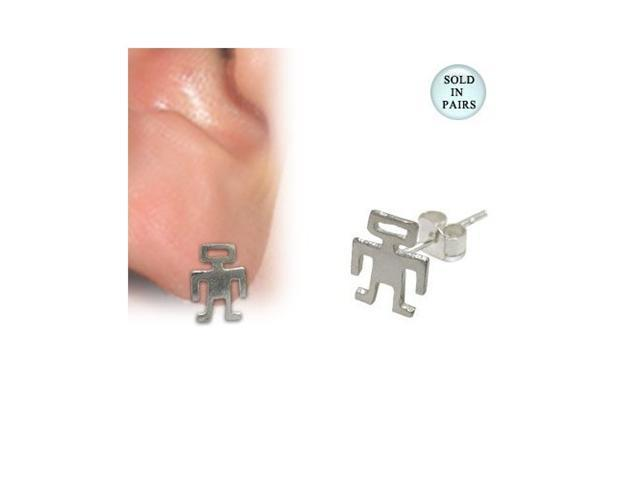 Sterling Silver Robot Stud Earrings