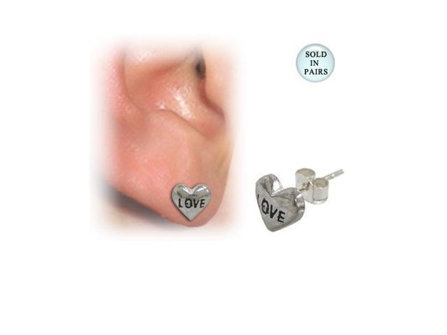 Sterling Silver Heart Ear Studs