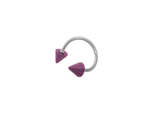 Surgical Steel Spiral Twister Ring with Pink Titanium Spike Heads