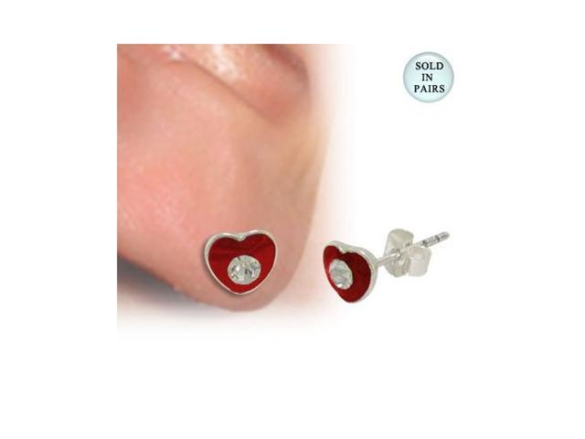 Ear Stud .925 Sterling Silver Red Heart Shape with Clear Jewel