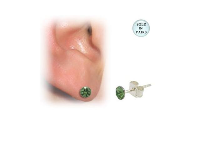 Sterling Silver Ear Studs with Gem