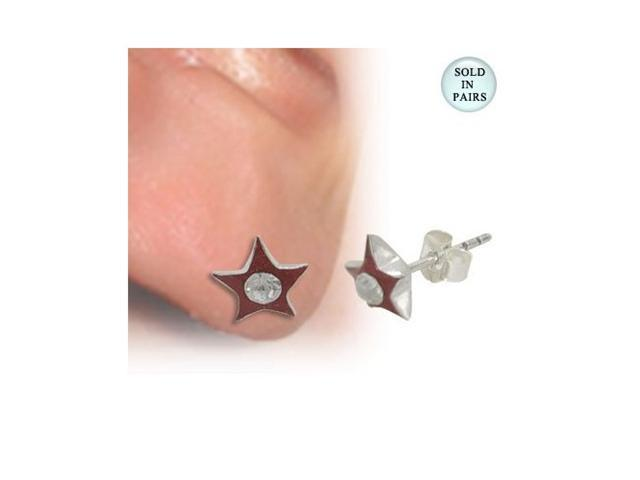Star with Jewel Ear Studs .925 Sterling Silver