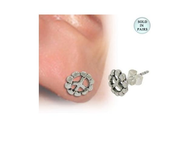 Peace Sign Ear Studs .925 Sterling Silver